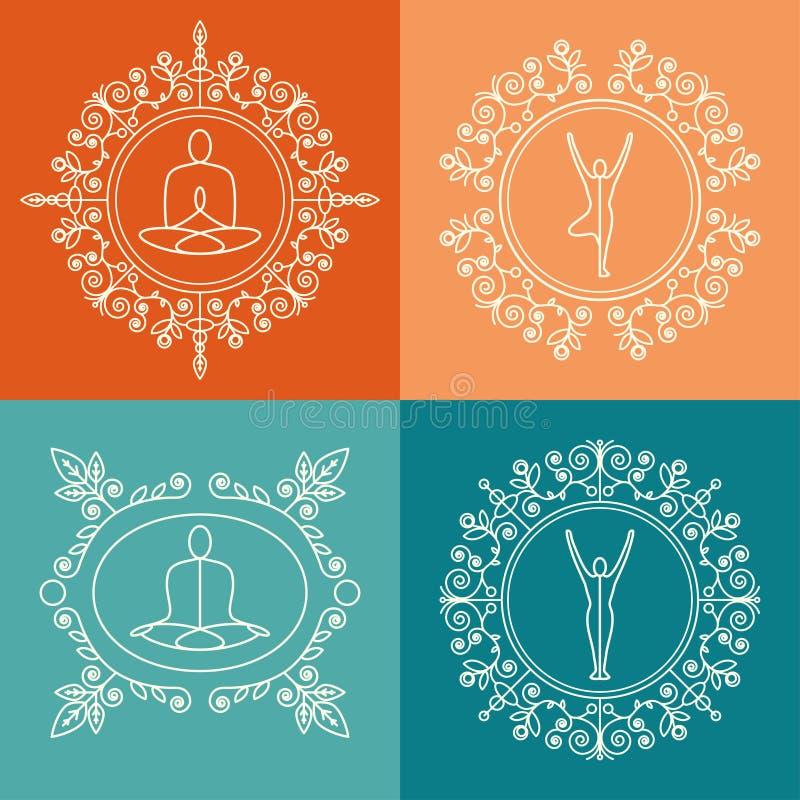 也corel凹道例证向量 套与花饰的组合图案瑜伽演播室的,类,瑜伽撤退 在线性样式的身分设计 向量例证