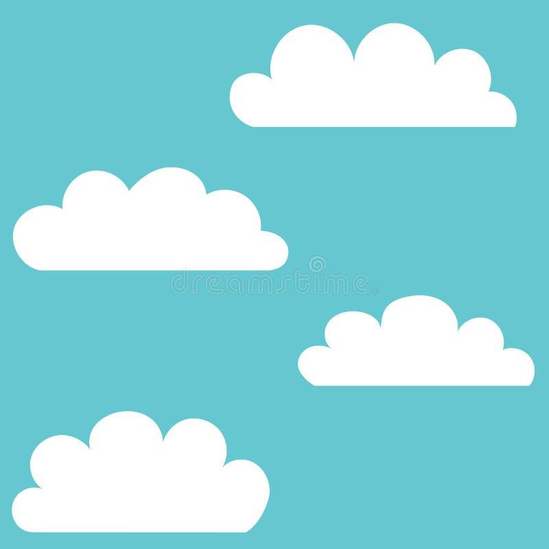也corel凹道例证向量 套在蓝色背景在时髦平的样式的云彩象隔绝的 您的网站设计的云彩标志, 库存例证