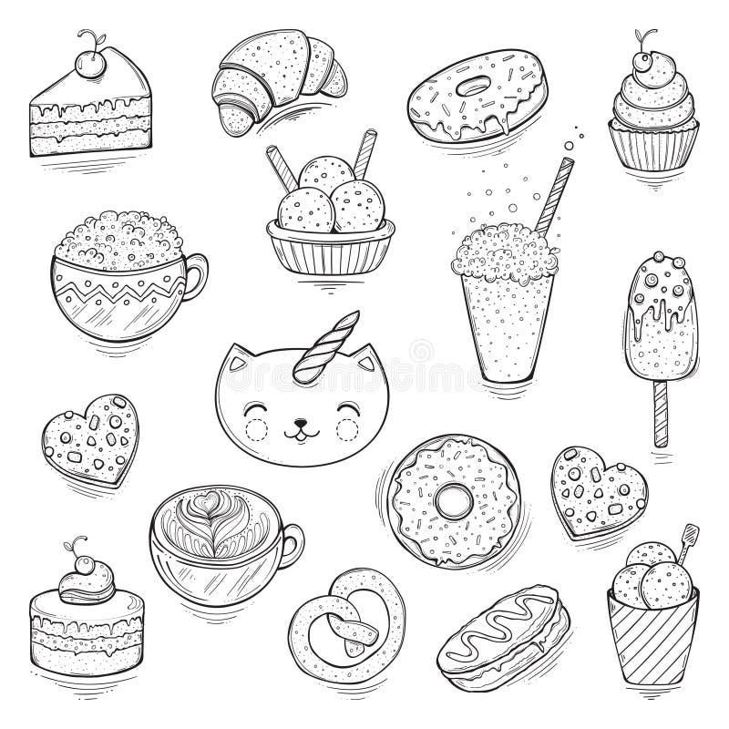 也corel凹道例证向量 套逗人喜爱和乐趣冰淇凌贴纸,徽章,象 图库摄影