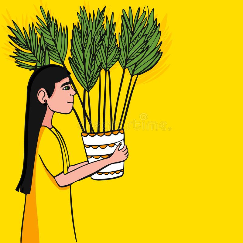 也corel凹道例证向量 女孩运载在罐的一朵花 库存例证