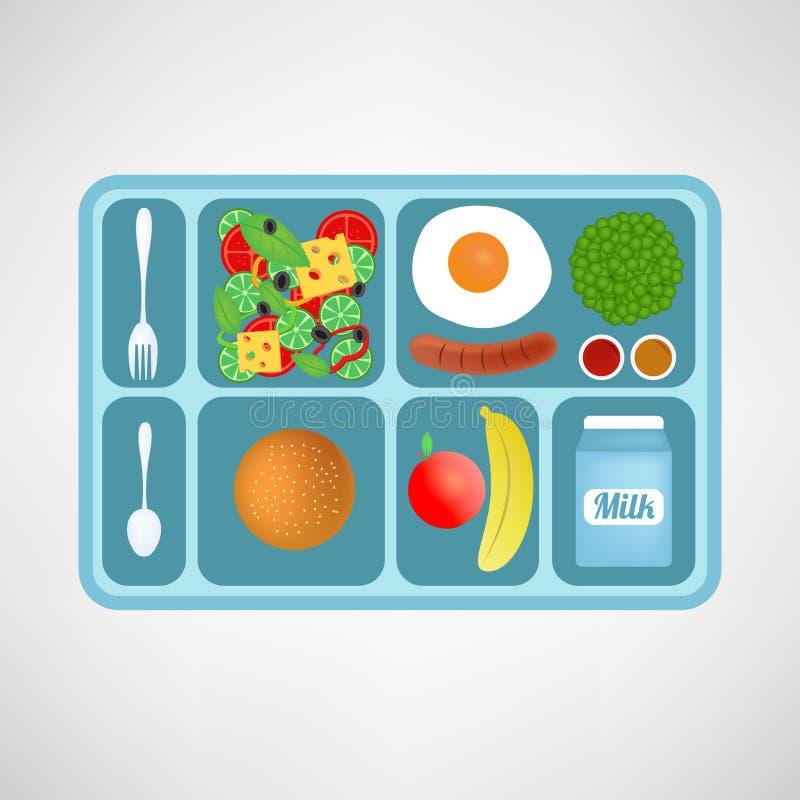 也corel凹道例证向量 平的样式 学校午餐 学生的健康食物 库存例证