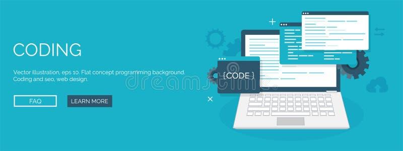 也corel凹道例证向量 平的背景 编码,编程 SEO 在云彩概念性引擎图象附近关键字在优化seo上写字 应用程序发展,创作 库存例证