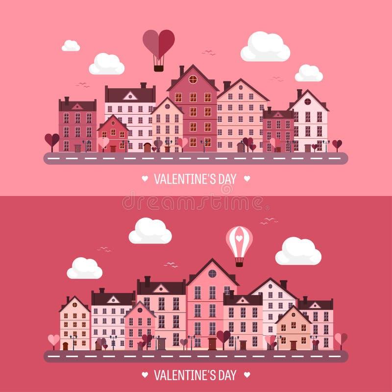 也corel凹道例证向量 有心脏的城市 爱情人节 2月14日 都市风景镇 向量例证