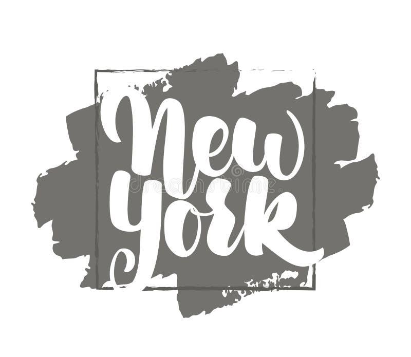 也corel凹道例证向量 葡萄酒手纽约字法印刷品  背景黑色关闭设计蛋炸锅衬衣t 库存例证