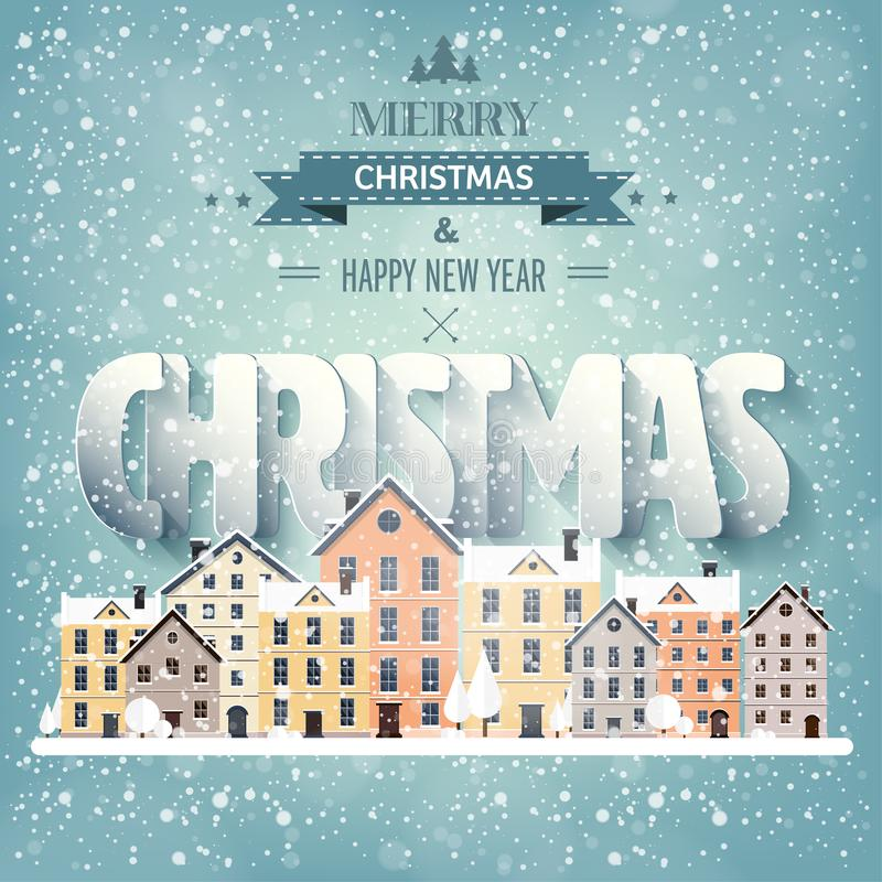 也corel凹道例证向量 长凳在雪结构树都市冬天附近报道了横向 有雪的城市 圣诞节新年度 与大厦的都市风景 向量例证