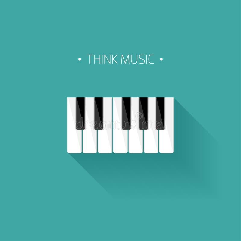 也corel凹道例证向量 音乐平的背景 与键盘的钢琴钥匙 曲调 仪器 皇族释放例证