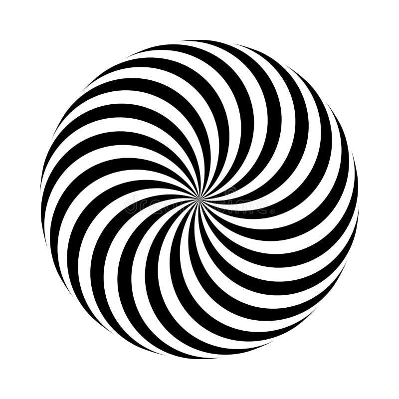 也corel凹道例证向量 黑白圆的几何样式 容量错觉  库存例证