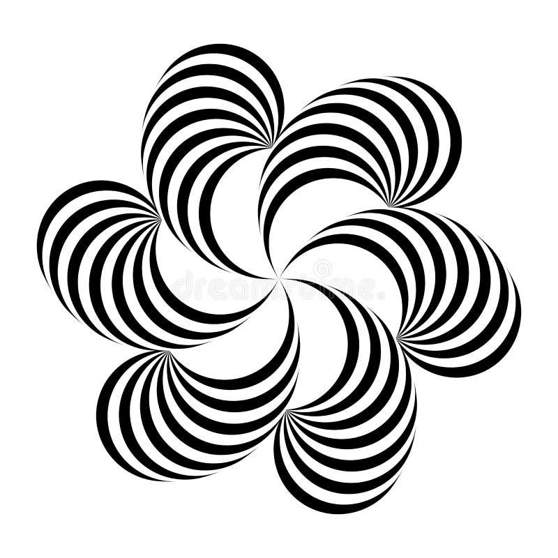 也corel凹道例证向量 黑白抽象花卉条纹图形 容量错觉  皇族释放例证
