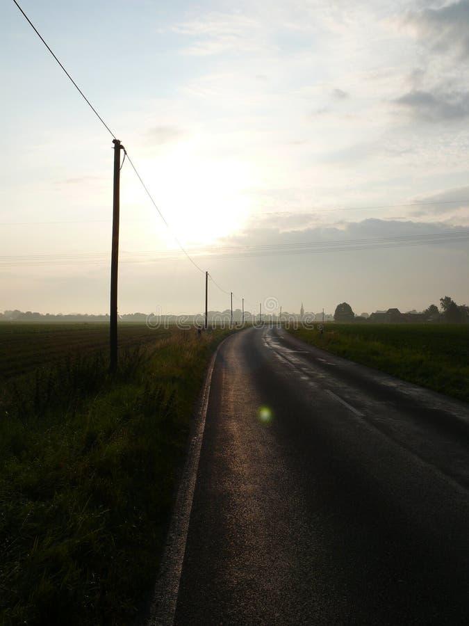 乡下公路在早晨微明下 库存照片