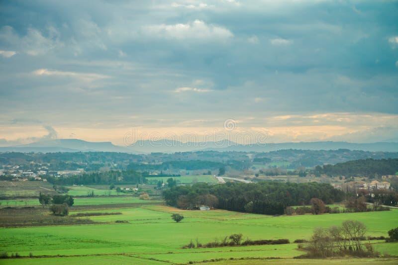 乡下农业风景农村领域或全景  免版税库存图片