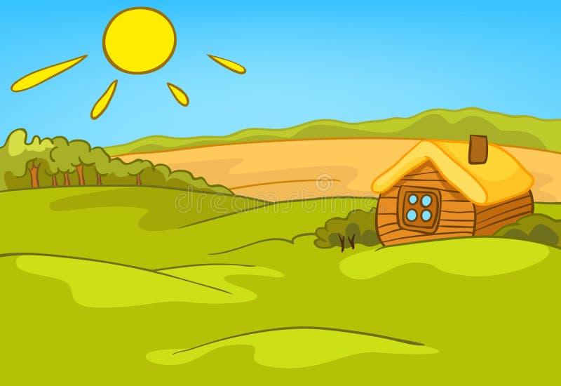 乡下夏天风景动画片背景  向量例证