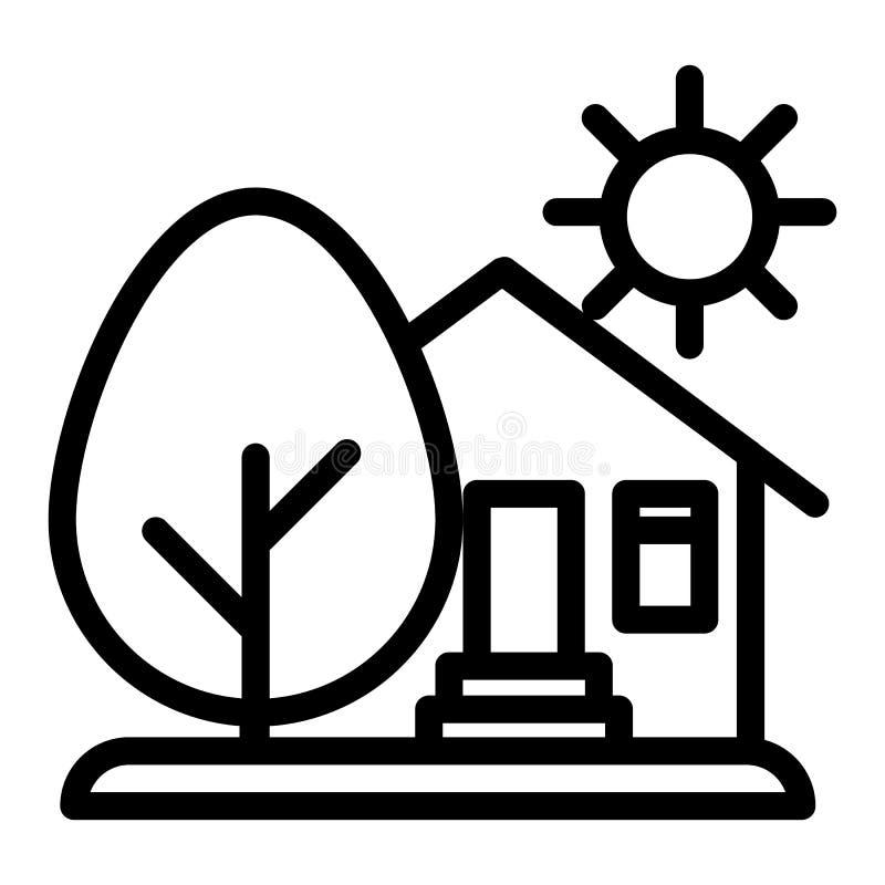 乡下房子、太阳和林木线象 有树和太阳在白色隔绝的传染媒介例证的议院 有机农场 库存例证