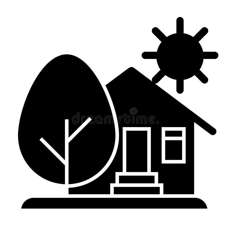 乡下房子、太阳和树坚实象 有树和太阳在白色隔绝的传染媒介例证的议院 有机农场 向量例证