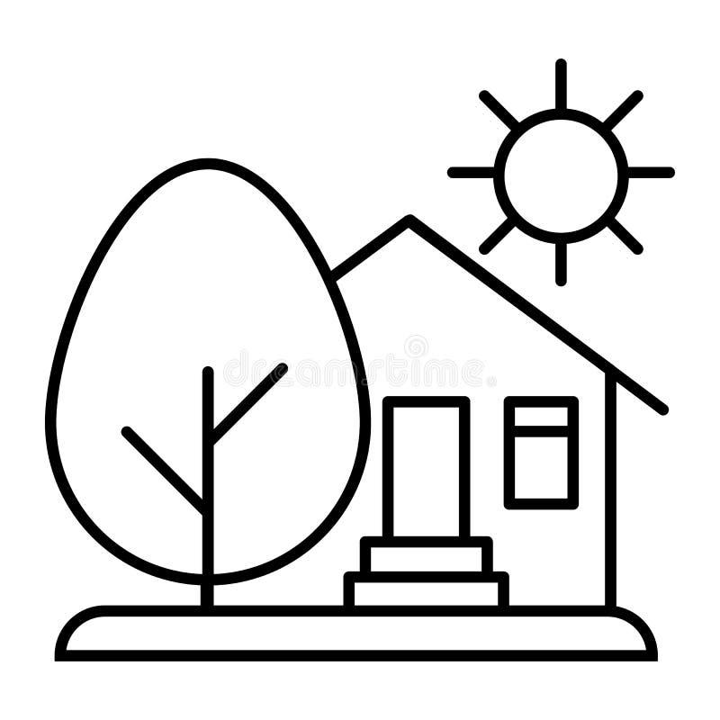乡下房子、太阳和树稀薄的线象 有树和太阳在白色隔绝的传染媒介例证的议院 有机 皇族释放例证
