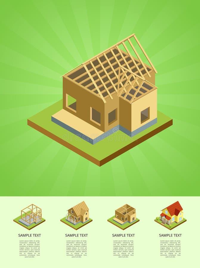 乡下房子建筑阶段  库存例证