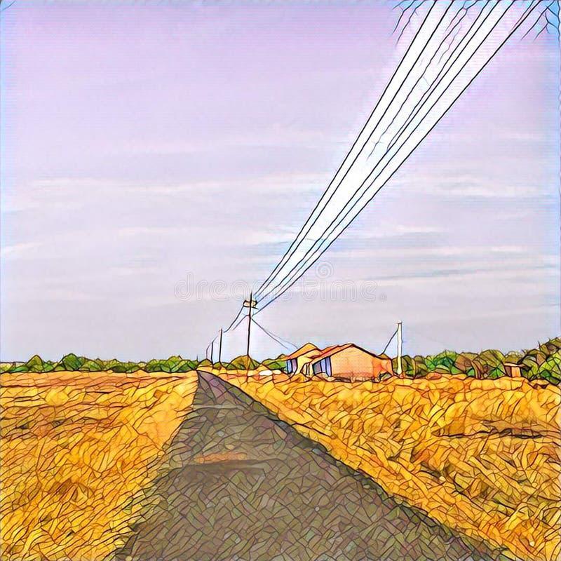 乡下旅途风景 方形的数字式例证 向量例证