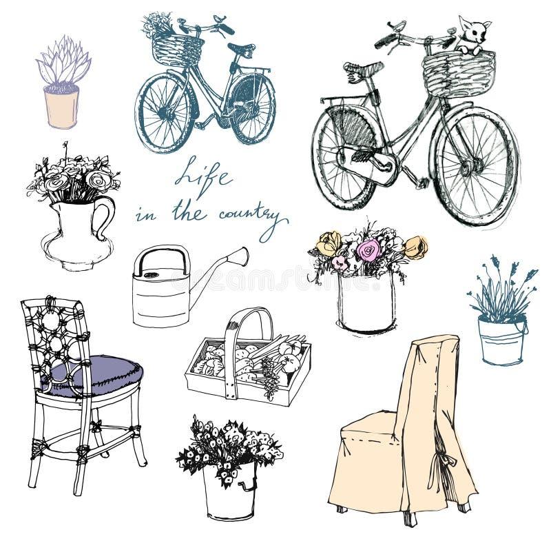乡下生活。花。家具。内部元素 向量例证