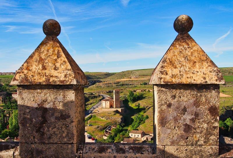 乡下看法从塞戈维亚城堡,西班牙的 库存照片