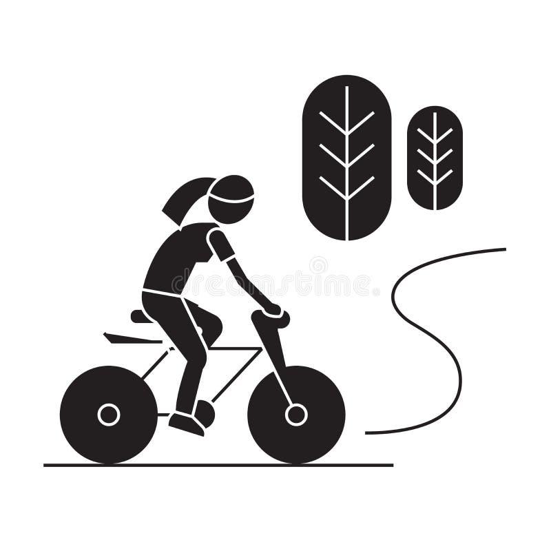 乡下自行车乘驾黑色传染媒介概念象 乡下自行车乘驾平的例证,标志 向量例证
