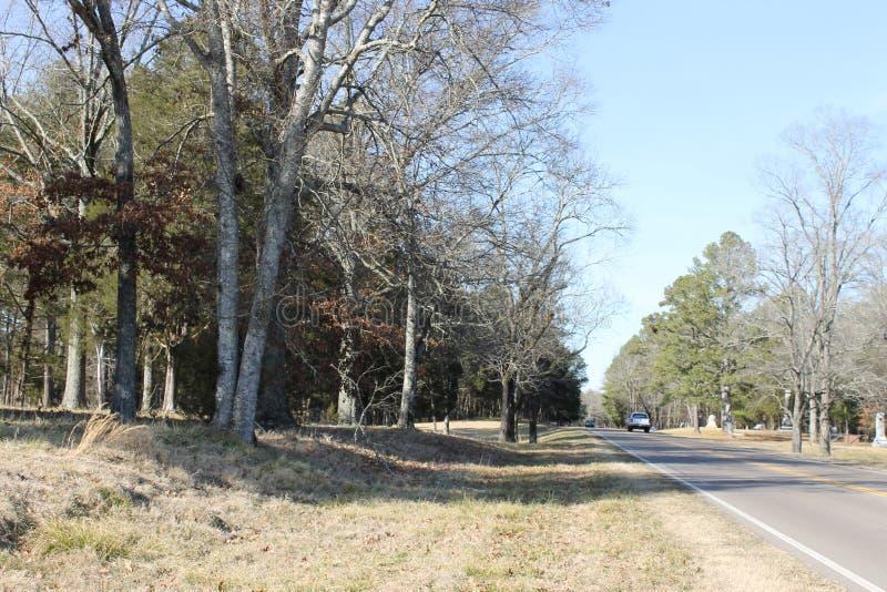 乡下路在与蓝天的冬天 库存图片