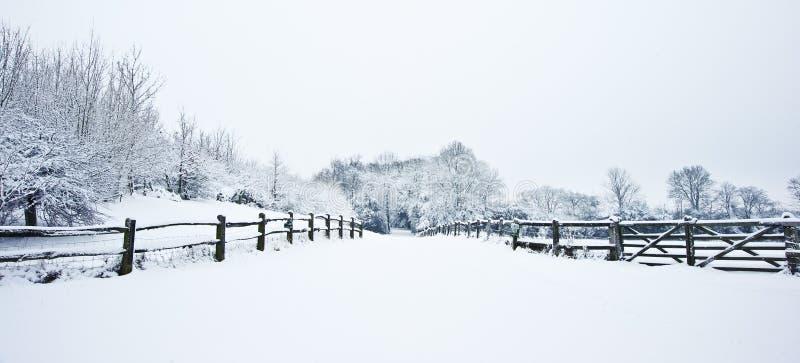 乡下路径雪冬天 免版税库存图片