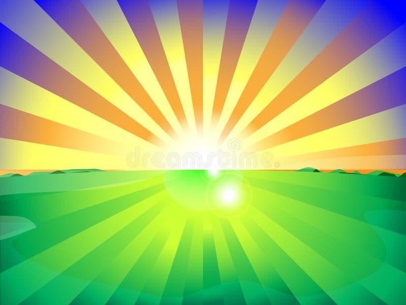 乡下领域和太阳上升背景与美丽的蓝天 向量 皇族释放例证