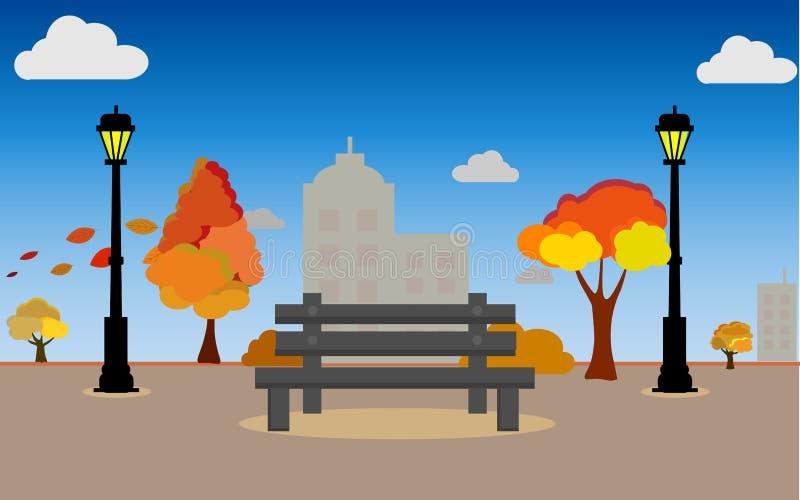 乡下风景在与颜色趋向2019年,传染媒介例证水平的横幅的秋天全景山调遣 皇族释放例证