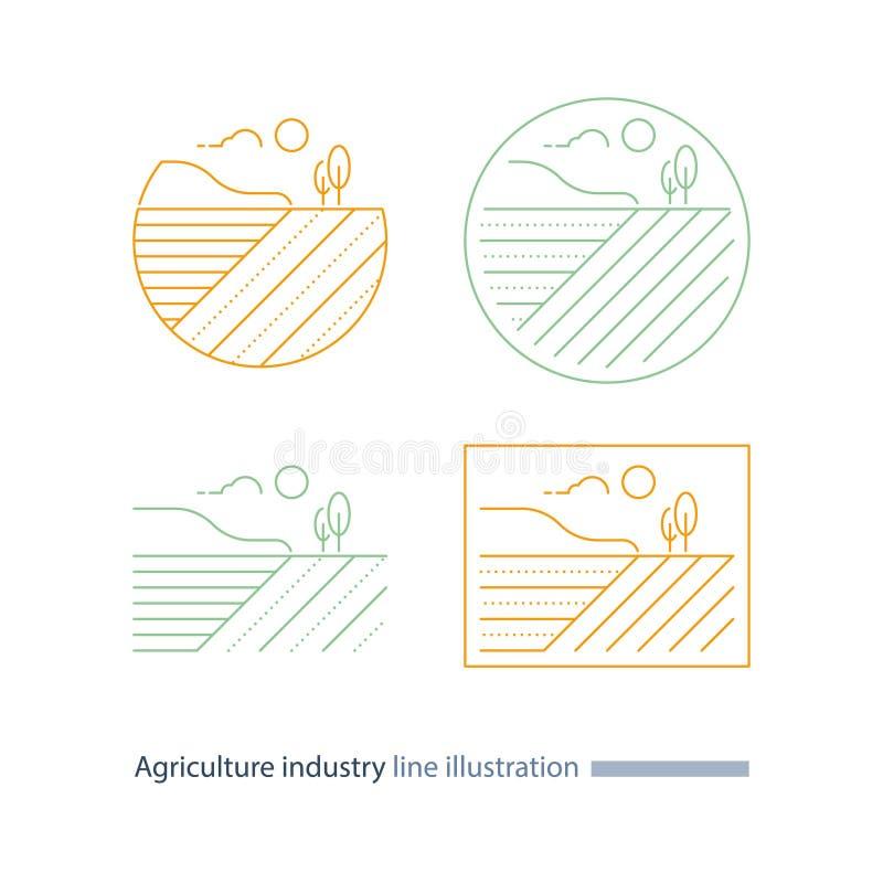 乡下风景,农业磁力线象,犁沟,稀薄的冲程例证 向量例证