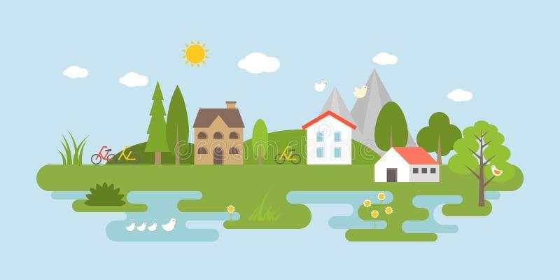 乡下风景,平的设计为使用当风景背景 库存例证