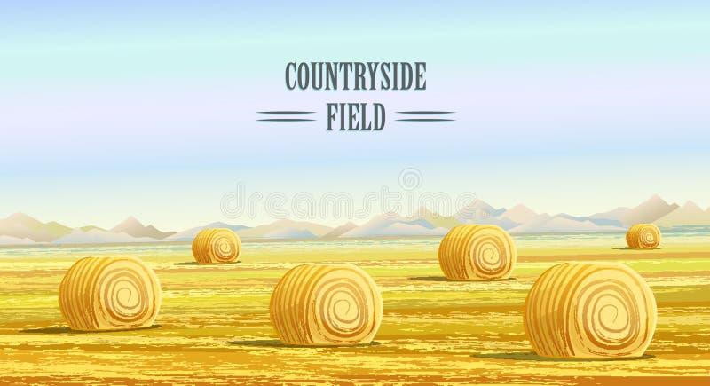 乡下 农村的区 与干草堆的领域 库存例证