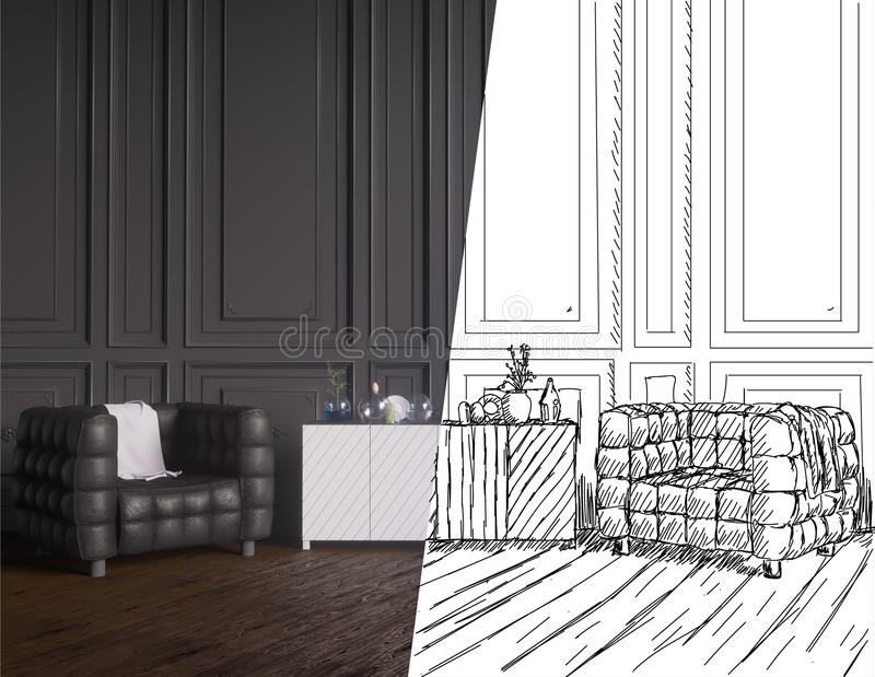 乡村模式的coworking的办公室内部未完成的项目  3D翻译以图例解释者 皇族释放例证
