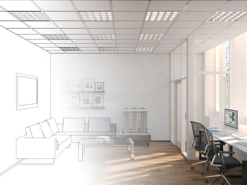 乡村模式的coworking的办公室内部未完成的项目  3d翻译 皇族释放例证
