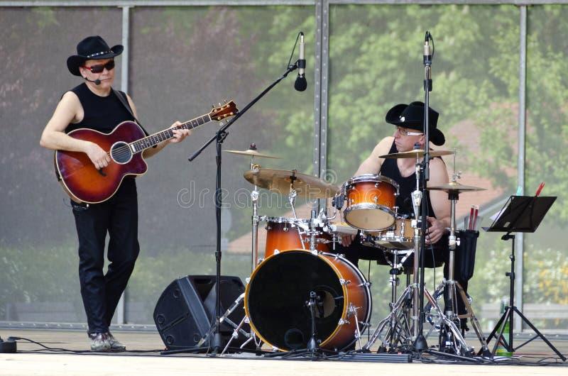 乡村音乐带得克萨斯车手 库存照片