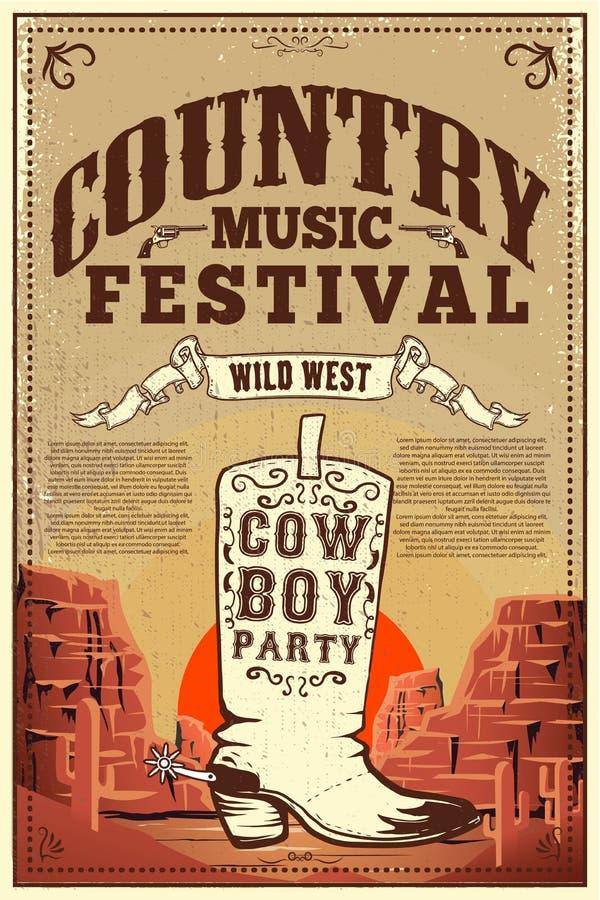 乡村音乐节日海报 与牛仔靴的党飞行物 海报的,卡片,标签,标志,卡片,横幅设计元素 库存例证