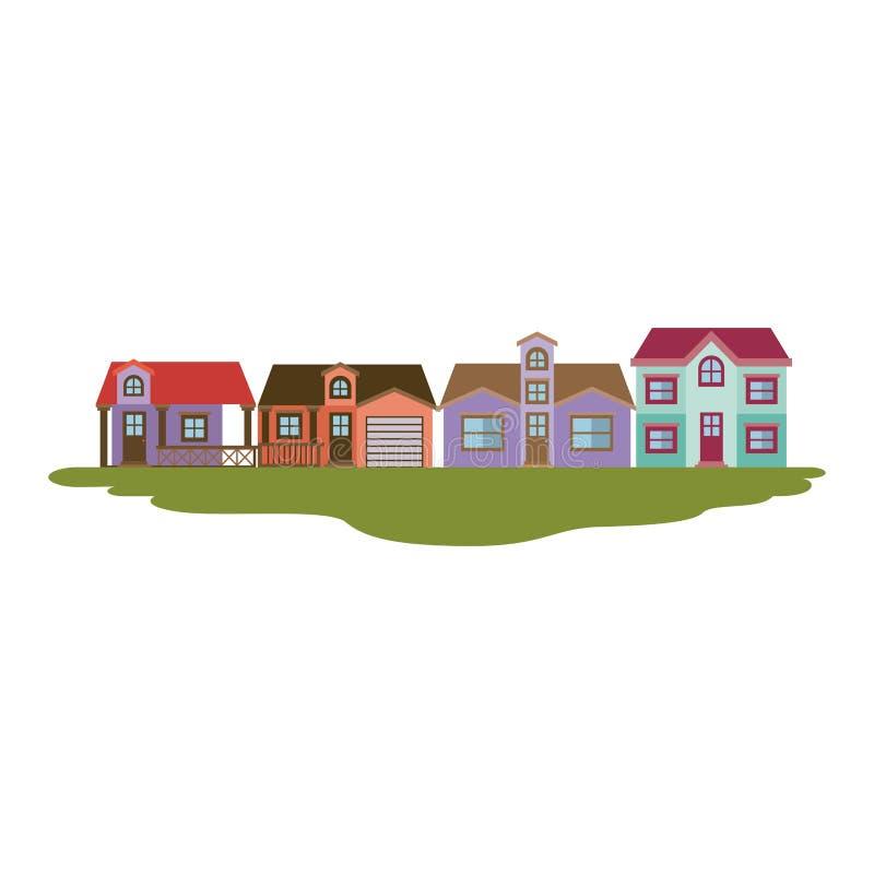 乡间别墅五颜六色的剪影在草的几个地板 库存例证