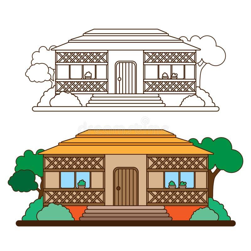 乡间别墅在森林里或在乡下 在树中的村庄在动画片样式 平的线型 库存例证