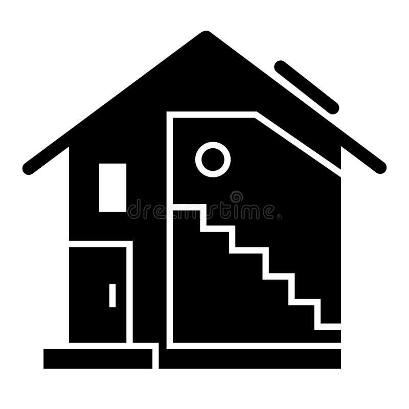 乡间别墅坚实象 有在白色隔绝的大窗口传染媒介例证的三角形屋顶房子 现代村庄纵的沟纹 库存例证