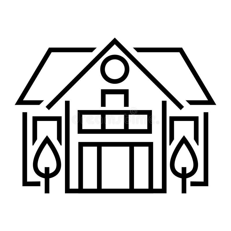 乡间别墅平的线象 夏天村庄,郊区物产商标的传染媒介稀薄的标志与树的 不动产租illustrati 向量例证