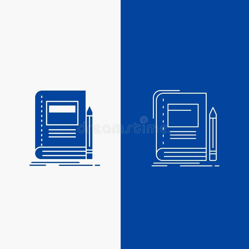 书、企业、教育、笔记本、学校线和纵的沟纹在蓝色垂直的横幅的网按钮UI和UX的,网站或 向量例证