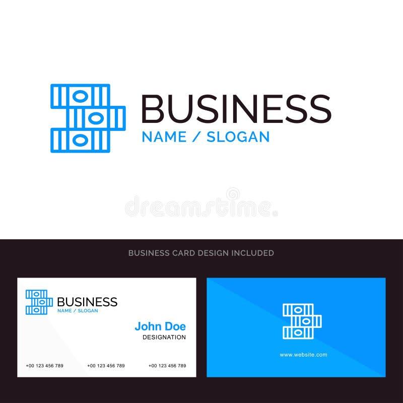 书、教育、图书馆蓝色企业商标和名片模板 前面和后面设计 库存例证