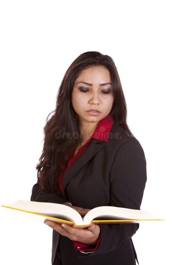 书严重女孩的藏品 免版税图库摄影