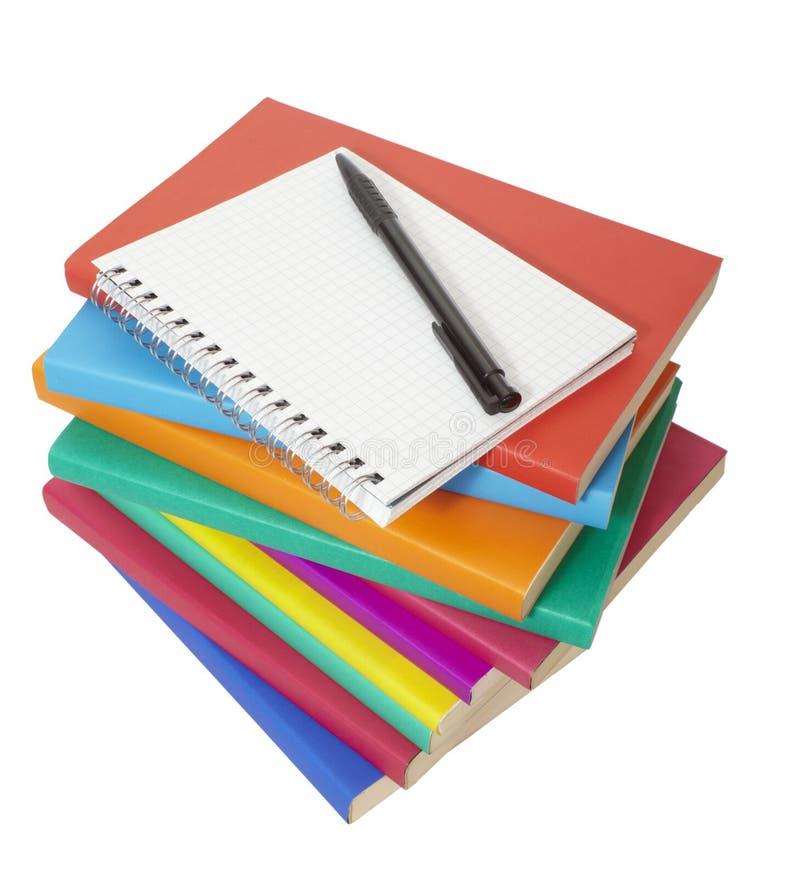 书五颜六色的教育笔记本栈 免版税图库摄影