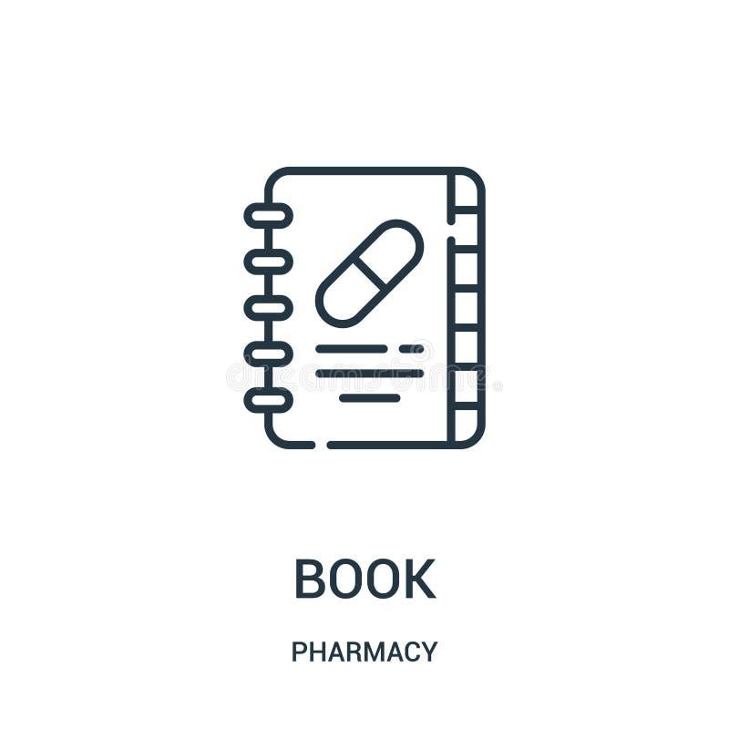 书从药房汇集的象传染媒介 稀薄的线书概述象传染媒介例证 向量例证