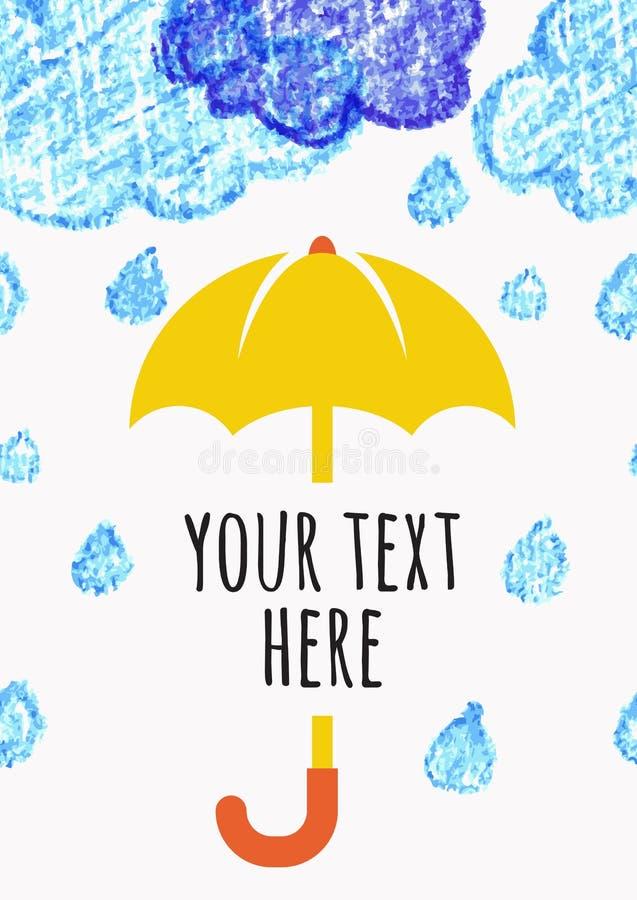 书写与黄色伞,传染媒介海的手拉的剪影云彩 库存例证
