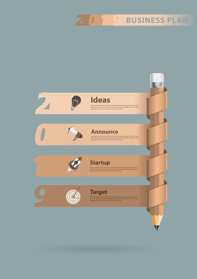 书写创造性的信息图表横幅新年2019年 向量例证