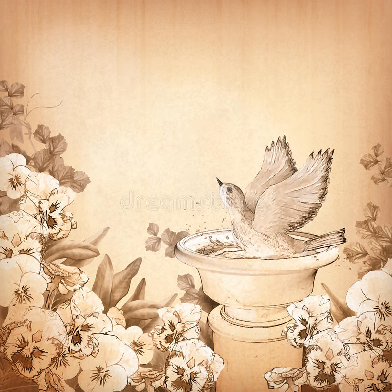 书写手在浴和蝴蝶花花的图画鸟 库存例证