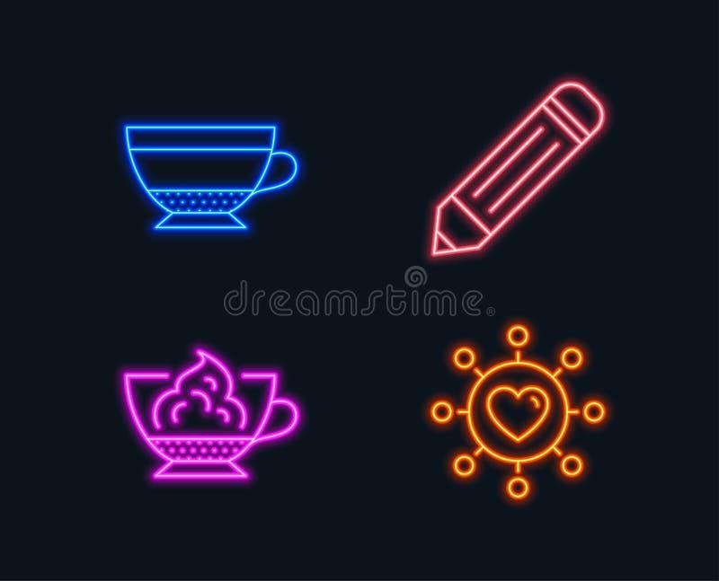 书写,干热奶咖啡和浓咖啡奶油色象 约会网络标志 编辑数据,饮料杯子,咖啡馆骗局panna 皇族释放例证