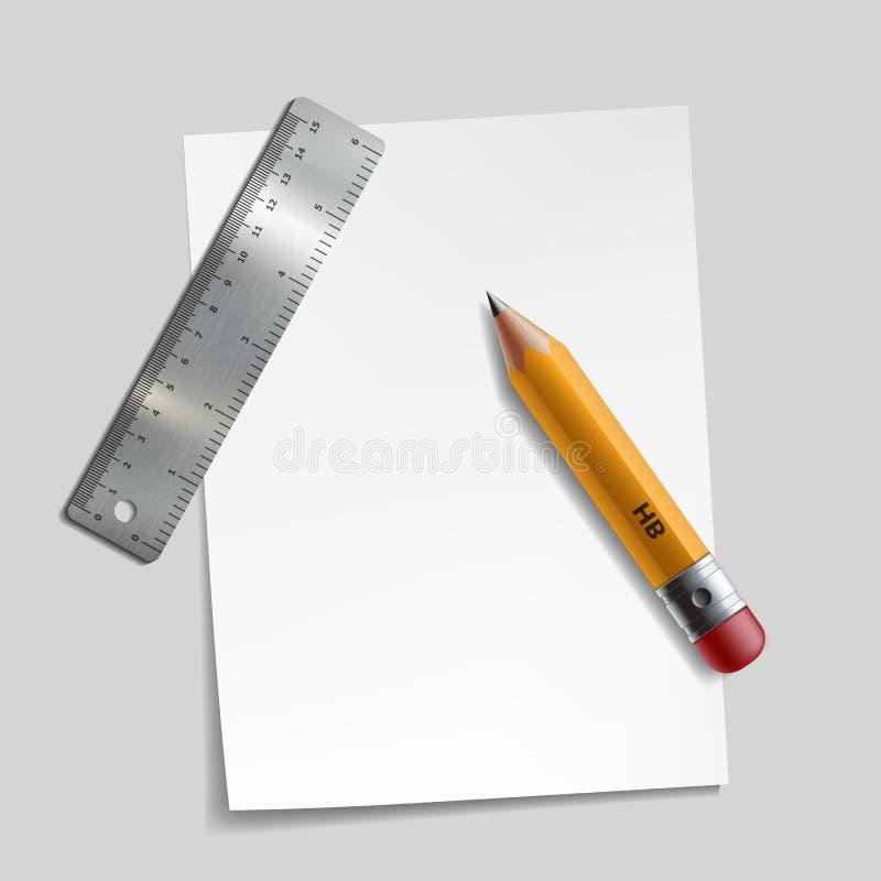 书写,金属统治者和一张纸 库存例证