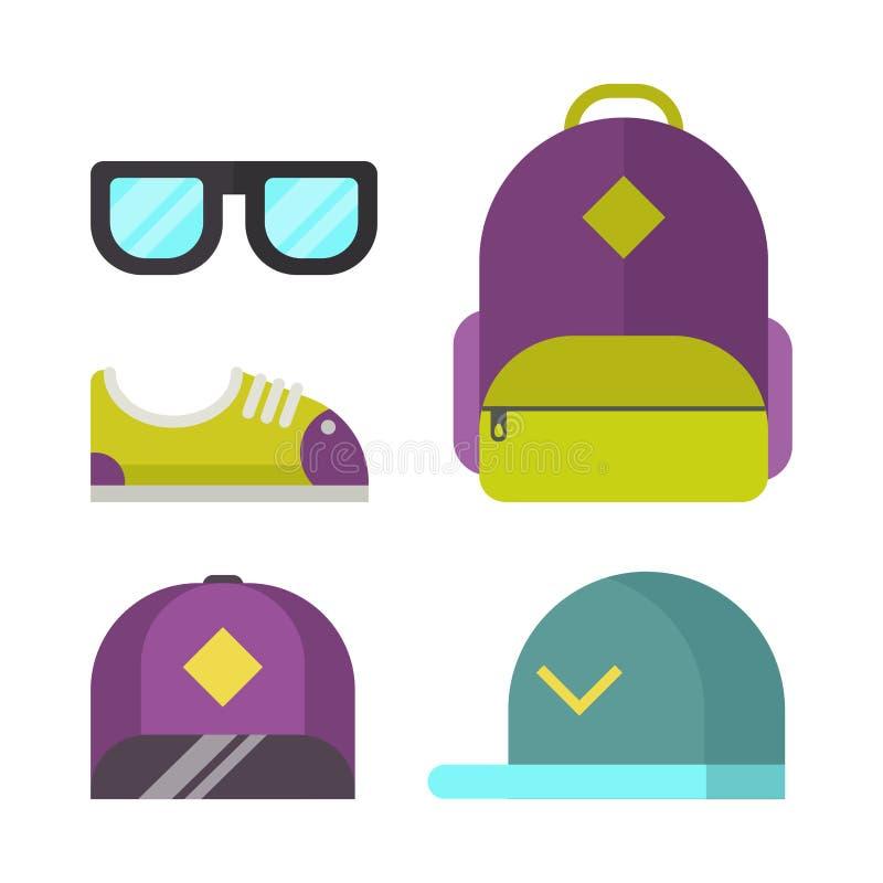 书包和时装配件象导航例证 皇族释放例证