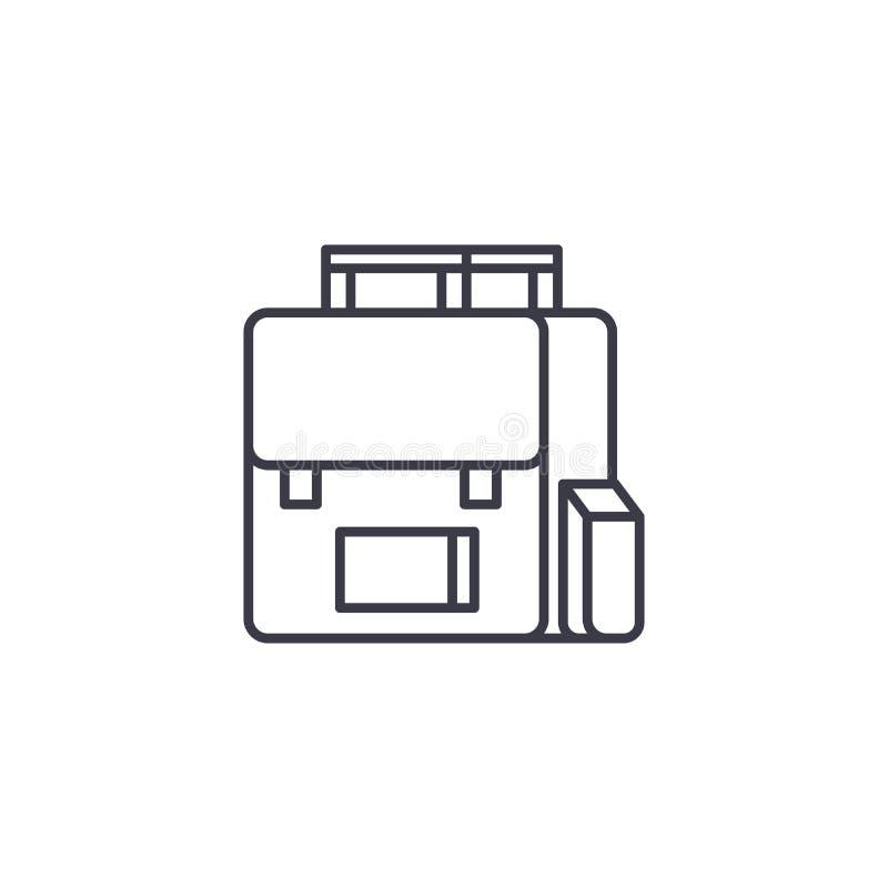 书包线性象概念 书包线传染媒介标志,标志,例证 向量例证